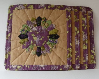 Handmade Snack Mats Cotton Lilac's Dresden Plate Quilted Placemats