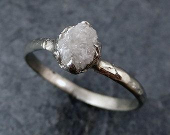 Raw Rough Uncut Diamond Engagement Ring Rough Diamond Solitaire 14k white gold Conflict Free Diamond Wedding Promise byAngeline 0186