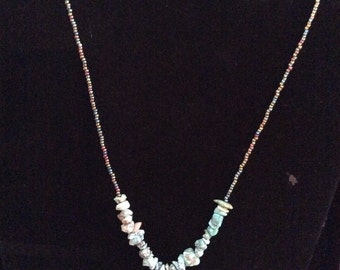 Beaded turquoise necklace 16-18 in