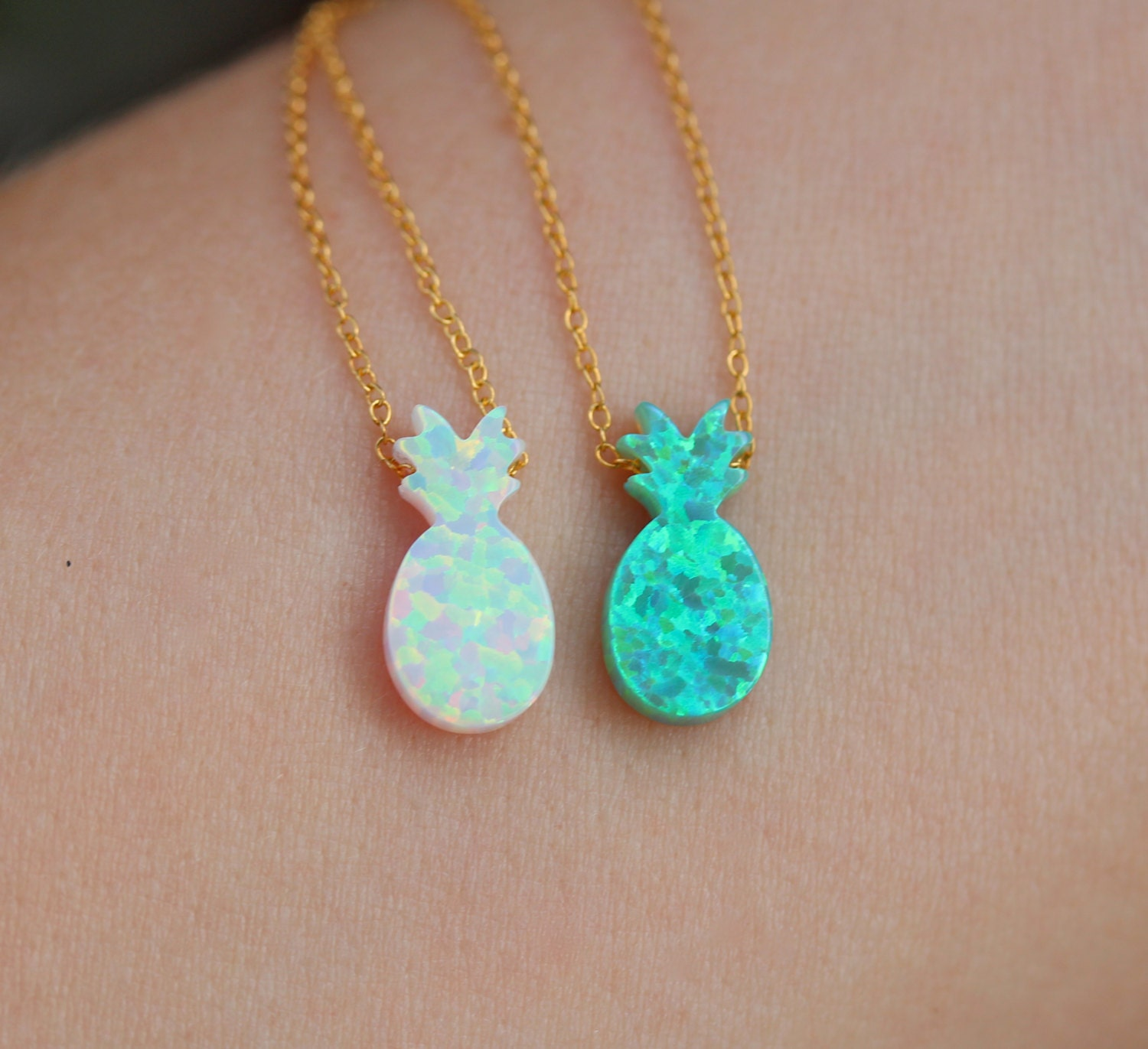 Pineapple Necklace Tropical Necklace Fruit Jewelry