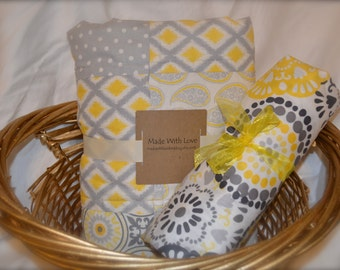 Yellow and Gray modern baby girl 2 piece bedding set/ Crib quilt and matching sheet/ Ready to Ship
