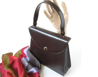 Brown Leather Purse Kelly Bag Vintage Handbag Mid Century Purse Brown Handbag 1960s Handbag Retro Handbag Top Handle Bag