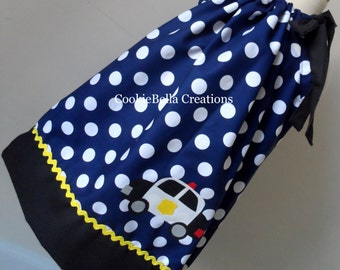 Police Squad Car Navy Blue & Black Polka Dot Pillowcase Dress