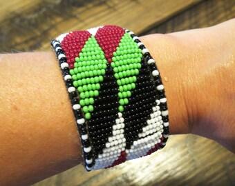 Beaded wristband cuff