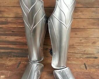 Thranduil's Armor - Steel Elf Leg Greaves- LOTR (The Hobbit)-LARP Elven Leg Greaves - Pair