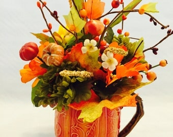 Fall Floral Decor, Autumn Floral Decor, Orange Fall Decor, Fall Arrangement, Autumn Arrangement, Pumpkin Floral Arrangement