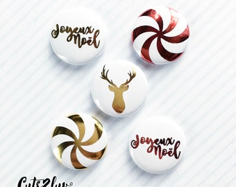 """Badges 1 """"all Christmas red metal 5"""