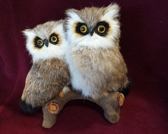 Vintage Fur Owls Perched on Flocked Faux Branch Rabbit Fur Bird Figurine eight inches tall