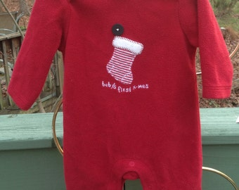 Baby's First X-Mas Jumper, Onsie, Pajamas Size 0-3 Months ~ Ugly Christmas Pajamas ~ Old Navy, 90s