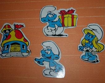 Smurfs Vintage 4 Magnet Set 80's Toy Smurfette