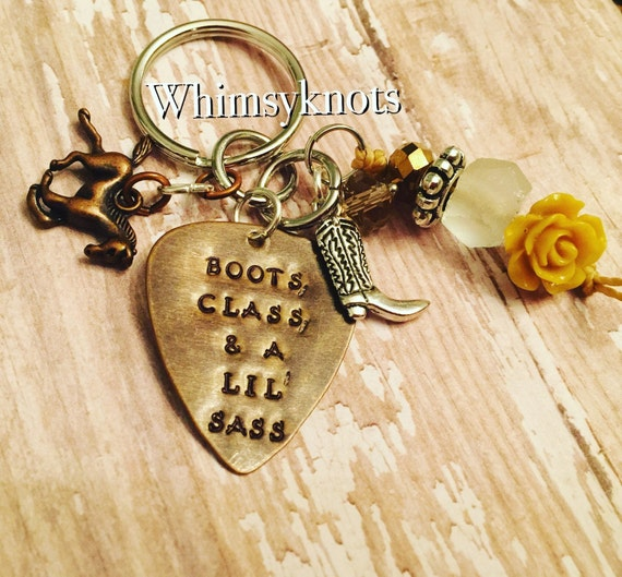 Southern charm keychain, Sassy Quote, southern quotes, boots class and a lil' sass, Personalized, beaded keychain