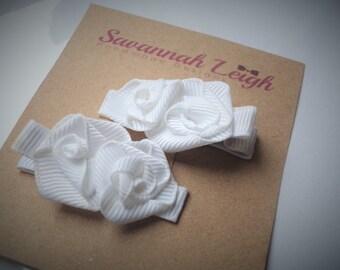 white ribbon rose grosgrain ribbon girls hair clips