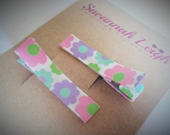 Purple pink green white floral printed grosgrain ribbon hairclips