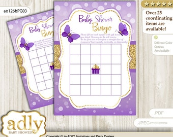 Purple Gold Butterfly Bingo Game Printable Card for Baby Girl Shower DIY grey, Purple Gold Kisses -ao126bPG3