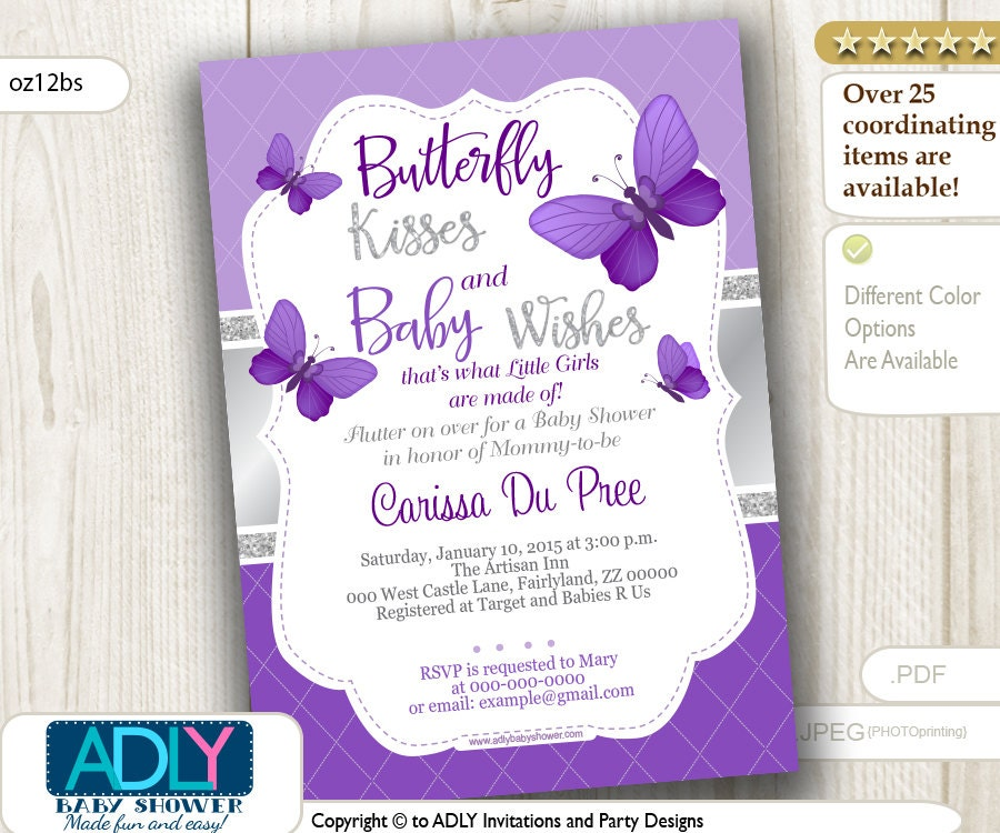 Purple Silver Butterfly Invitation For Baby Shower With Silver