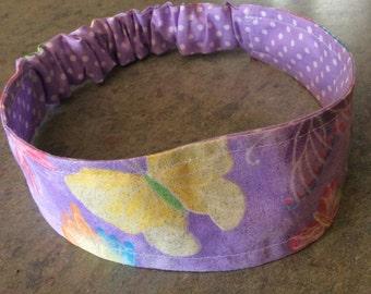 Girls Yoga Headband Reversible Glitter Butterflies