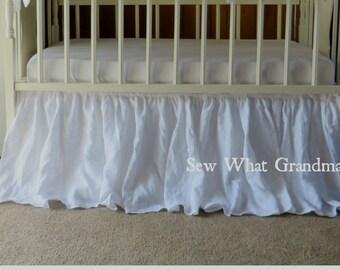 White Linen Crib Dust Ruffle - 3 Sides Skirt, Princess Nursery Theme, Farmhouse Baby Bedding Theme