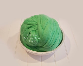 Destash SALE Merino Green Lime Top Roving Wool  Spinning Felting Undyed Fiber 1lb