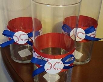 Baseball Centerpiece- Set of 3 Baseball themed vases, Centerpieces, Birthday party, decoration, Sport theme,