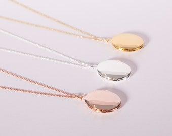 Fine Necklace Silver Necklace Medaillon Photo Locket Tiny Locket Necklace Silver