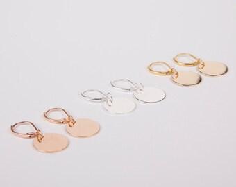 Earrings Disc Rosegold Gold Or Silver Circle Ear Rings Studs Dangly Earrings Rose Disc