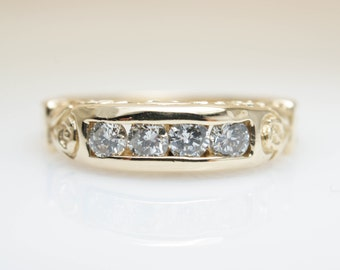 Vintage Filigree Diamond Anniversary Band in 14k Yellow Gold Multistone Ring Unique Diamond Band Vintage Engagement Ring Promise Intricate