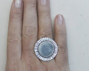 Big Adjustable Sterling Silver Sun Ring - Sterling Silver Jewelry - Hand Carved Matte Finish Ring - Ready to ship