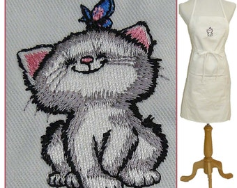 """Adorable Kitten & Butterfly 24"""" or 30"""" Apron + Free Name"""