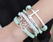 5 Strand White and Mint Infinity, Faith, Love, Cross Bracelet - 5 Strand Leather Braided Wrapped Cross Bracelet