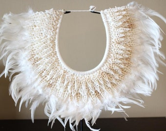 Papua Native Warrior necklace with white feathers and shells