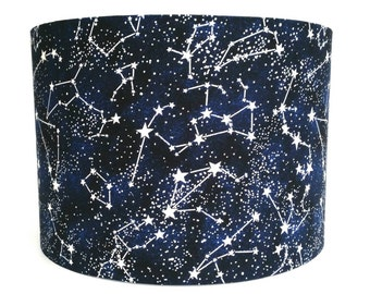 Glow in the Dark Space Fabric Lampshade Featuring Stars and Their Constellations