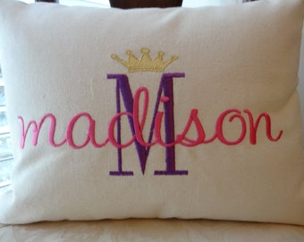 "princess crown - personalized princess bedding  - Pillow - 16""x12"" - crown with name - insert included"