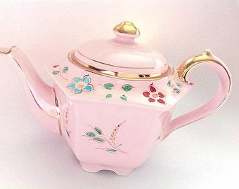 Vintage Sadler Hexagonal Hand Painted Teapot