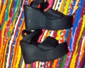 SALE!!! Wedge velcro platform sandals foam size 7 black