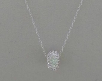 Sterling silver diamante charm necklace