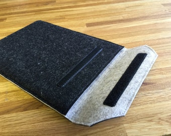 iPad Case / iPad Sleeve / iPad Sleeve - Mottled Anthracite Outer and Choice of Inner Colour - 100% Wool Felt