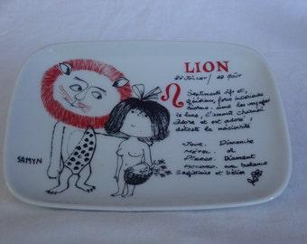 Vintage French Lion Zodiac Sign Change Plate -