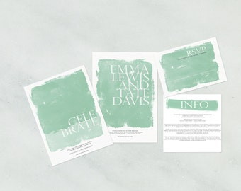 Watercolor gallery wedding invitation suite | customizable