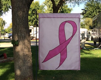 pink ribbon charity garden flag - breast cancer awareness