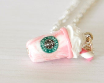 Starbucks necklace, polymer clay strawberry vanila milkshake, kawaii miniature