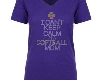Keep Calm Softball Mom Hot Fix Rhinestones