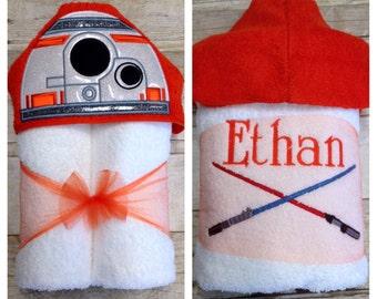 Robot Hooded Bath Towel/ Star Wars BB8/ Robot Costume/ Robot Birthday/ Star Wars Gift/ Star Wars Baby/ Pool Towel/ Beach Towel/ BB8 Baby