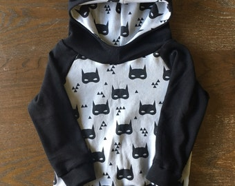 Black Hoodie in Organic Cotton for Babies and Kids - You Choose Print