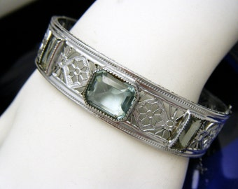 Art Deco Hinged Bangle Bracelet Aqua Glass Rhinestones Signed R & G Co Nuwite