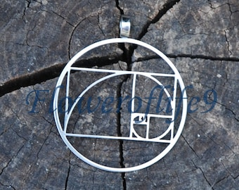 Fibonacci Golden ratio pendant (1 3/8) - Stainless Steel