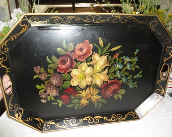 Large Black Metal Floral Tole Tray Toleware Serving Tray Hand Painted Decorative Tray Home Decor