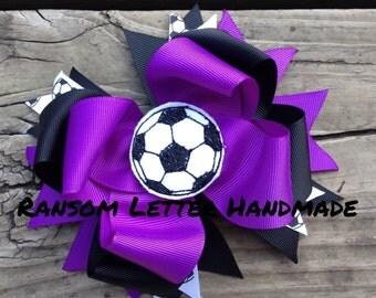 Purple Soccer Bow Violet and Black Soccer Hair Bow Girls Soccer Team Uniforms Softball Mom Team Moms Soccer Feltie