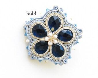 Soutache brooch - Blue Flower