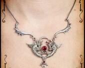 Medieval necklace siamese dragon jewelry - Handmade medieval necklace with swarovski