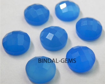 25 Pieces Lot Blue Chalcedony Round Shape Checker Cut Loose Gemstone